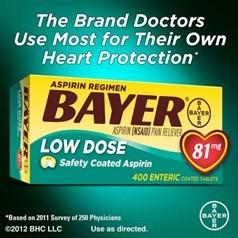 Bayer低剂量阿司匹林(81毫克)缓释片 400片图片