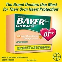 Bayer低剂量阿司匹林(81毫克)咀嚼片 216粒图片