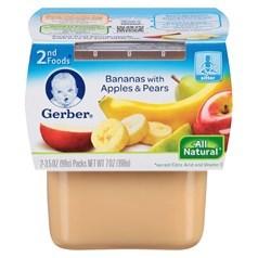 Gerber 嘉宝2段辅食香蕉苹果梨子果泥 198克,2瓶图片