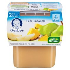 Gerber 嘉宝2段辅食梨子菠萝果泥 198克,2瓶图片